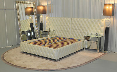 Stunning Custom Made Cavalli Italy Kingsize Leather Bed Rrp £25,000 Inc Rug