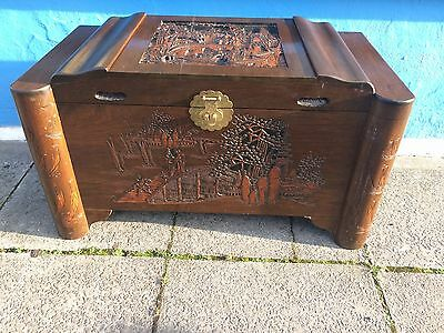 Oriental heavily carved camphor wood trunk/box/chest with tray #1295