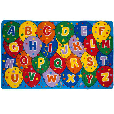 Kids ABC & Ballon Children's School Classroom Bedroom Educational Non-Skid Rug