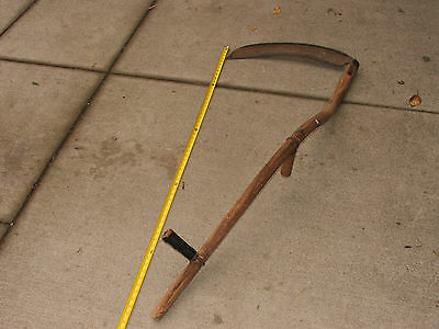 "Vintage/Antique 58"" Bent Wood Handle Scythe with 22"" X 3"" Brush Blade; FAST S&H"