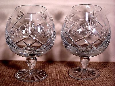 A Pair of Matching Cut-Lead-Crystal Brandy Glasses - Immaculate Condition