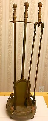 Antique Vintage Brass Victorian Fireplace Hearth Tool Tools Set with Stand