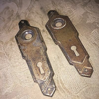 VTG Antique Pair Of Stamped  Metal Art Noveau Door Knob Backplates #2