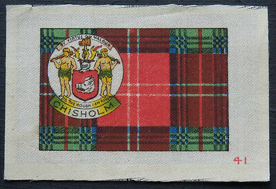 CHISHOLM Clan Tartan and Coat of Arms SILK card issued in 1922