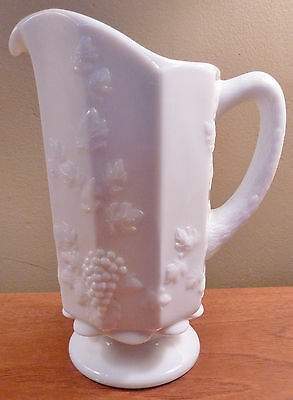 "Vintage Westmoreland iconic ""Paneled Grape"" 9"" white milk glass footed pitcher"