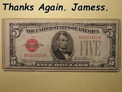 One Series 1928 E Five Dollar Red Seal United States Note