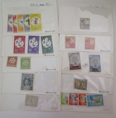 Suriname Stamps, 45 Approval Cards