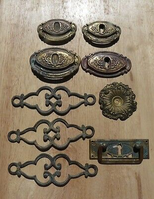 Mixed Antique French Pressed Bronze/Brass Door/Drawer Furniture or Decoration