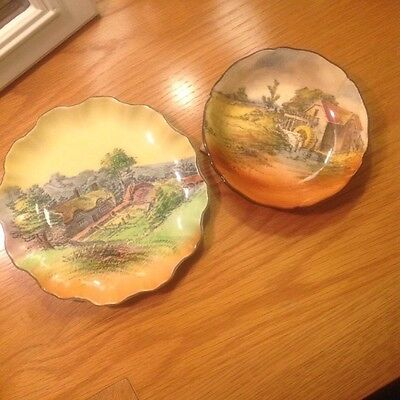 """royal doulton series ware pottery,1920's Dish D3647,6"""" Plate,Country Scenes"""