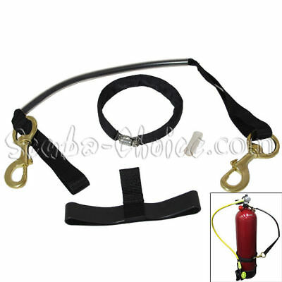 """Scuba Diving 8"""" Cylinder Tank Carrier with Clamp and Brass Clips"""
