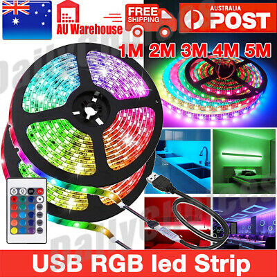 1-5M SMD 5050 RGB LED Strip Light Flexible Lighting 12V IR Controller Adapter