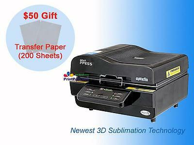 3D Sublimation Heat Press Machine for Phone Case Mug Glass Plate BK w/$50 Gift