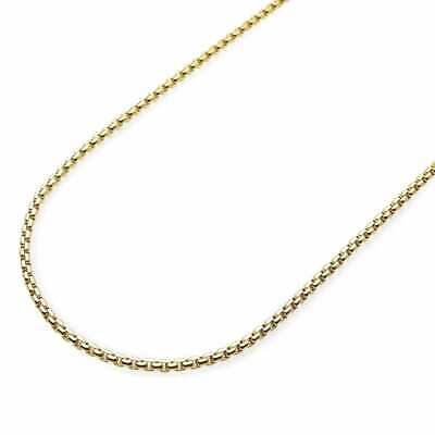 """14K Solid Yellow Gold 2mm Round Box Link Chain Necklace 26"""""""