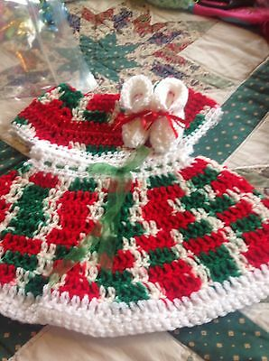 Baby Girl Handmade Crocheted Christmas Dress 3-6 Months With Matching Booties