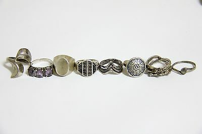 Vintage Lot Of 8 Sterling Silver Rings Scrap Or Use