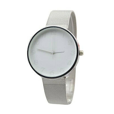 White Simple Modern Dial Silver Stainless Steel Mesh Classic Wrist Watch Box