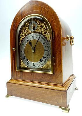 Amazing Antique German Quarter Strike Rosewood Inlaid 2 Gong 8 Day Bracket Clock