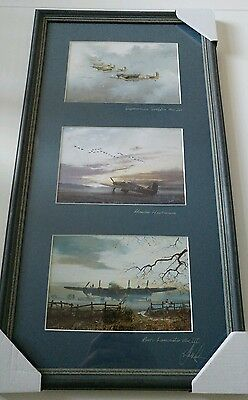 Second world war Lancaster, Spitfire and Hurricane prints signed by Robin Smith