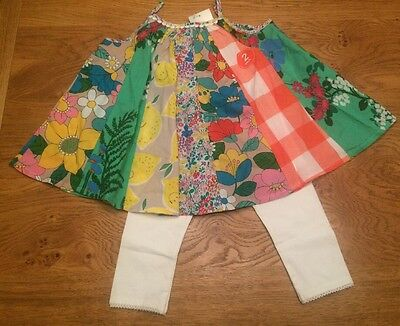 Next Baby Girl Gorgeous Bright  Floral Patch Tunic Dress Set 🌺 4-5 Yrs BNWT