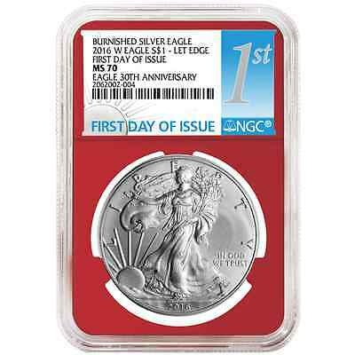 2016-W Burnished $1 American Silver Eagle NGC MS70 FDI 1st Label Red Core