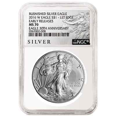 2016-W Burnished $1 American Silver Eagle NGC MS70 Early Releases ALS ER Label