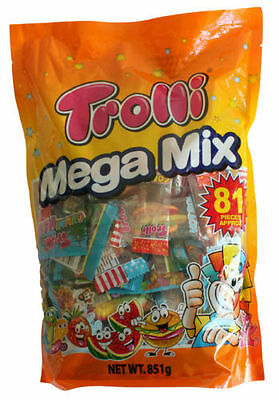 Trolli Mega Mix 81 Pieces Bag 851g Candy Gummy Lollies Sweets Buffet Party