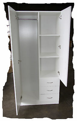 Budget White 800mm Wide 3 Drawer Combo Wardrobe - BRAND NEW