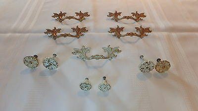 Lot Of 11 Antique Vintage Solid Brass Desk Drawer Pull Handles