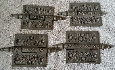 Vintage Ornate Antique Victorian Steeple Top Door Hinges Cast Iron 2 sets
