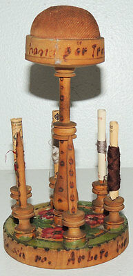 Antique Swedish Sewing PINCUSHION Thread Spool Holder Stand Painted Carved Wood