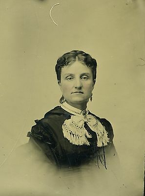 Tinted Tintype Photo of High Fashion Lady Great Hair Jewelry Clothing