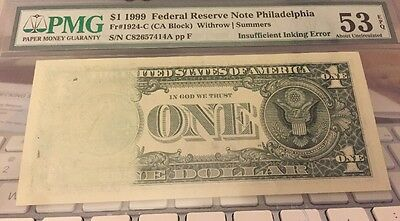 Series 1999 $1 Insufficient Inking Error Note (7414A)