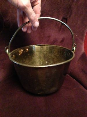 Early Colonial Brass / Iron Hand Forged  Kettle