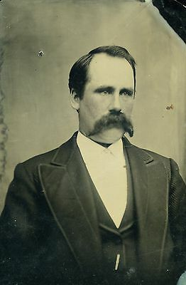 Tintype Photo of Man with Large Mustache