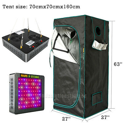Mars II 400W LED Grow Light+27''×27''×63'' Indoor Grow Room for Plant Greenhouse