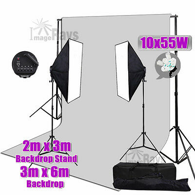 Photography 5 Head Softbox Continuous Light 3x6m Mulsin Backdrop Stand Stuido AU