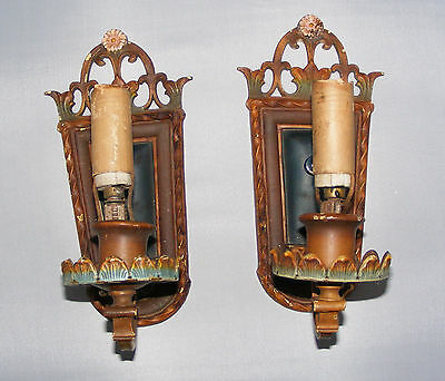 2 Antique Art Deco Arts & Craft Wall Sconces Gothic Medieval S & A