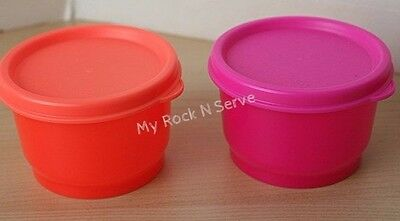 Tupperware 2  Snack Cup Container Neon Orange/Pink New