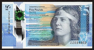 Royal Bank of Scotland RBS Polymer £5 Replacement Note Low No. ZZ Code 034959