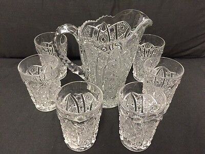 Imperial Glass Daisy and Button Clear Water Pitcher 7 Piece Set