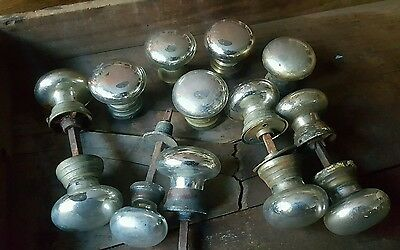 Antique Mercury Glass Doorknob LOT  Vintage Hardware VICTORIAN