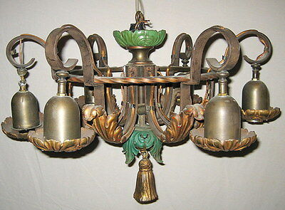 Antique Edwardian 6 Light Acanthus Leaf Brass and Iron Chandelier