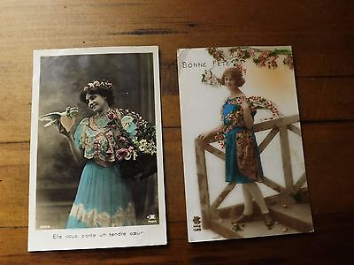 2 Vintage French Postcards 1920's Mademoiselle Colorised