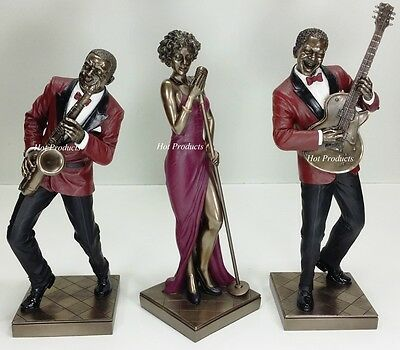 3 PC SET - JAZZ BAND COLLECTION SINGER SAXOPHONE GUITAR PLAYER Statue Sculpture