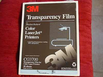 3M Transparency Film for HP Color Laser Jet Printers, CG3700, New, Factory Seale