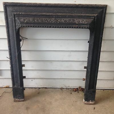 Salvaged Antique Ornate Cast Iron Fireplace Surround, Collector, Repurpose