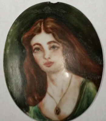 "Large 3"" Vintage French Porcelain Hand Painted Cameo Brooch Signed"