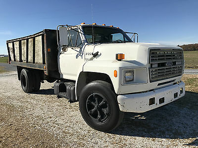 1991 Ford F600 Stake Body WORKING DUMP TRUCK Runs Well Low Miles LOW RESERVE