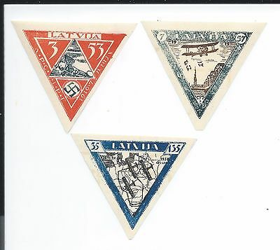 1933 Latvia, #CB18a, CB19a, and CB20a, (3) imperfed mint stamps. Full set.