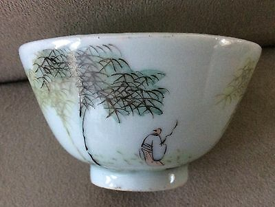 Antique Asian Chinese/Japanese Small Green Bowl May Fishing w/Trees Signed